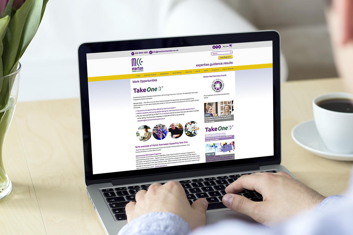 TA2 Design - design and marketing for web – Merton Chamber of Commerce website
